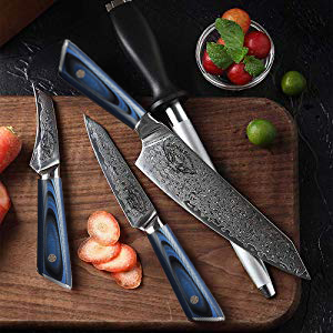 7 Piece Japanese Damascus Steel AUS10 Chef Knife Set