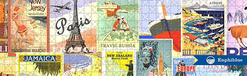 jigsaw puzzle vintage travel poster from enphiblue
