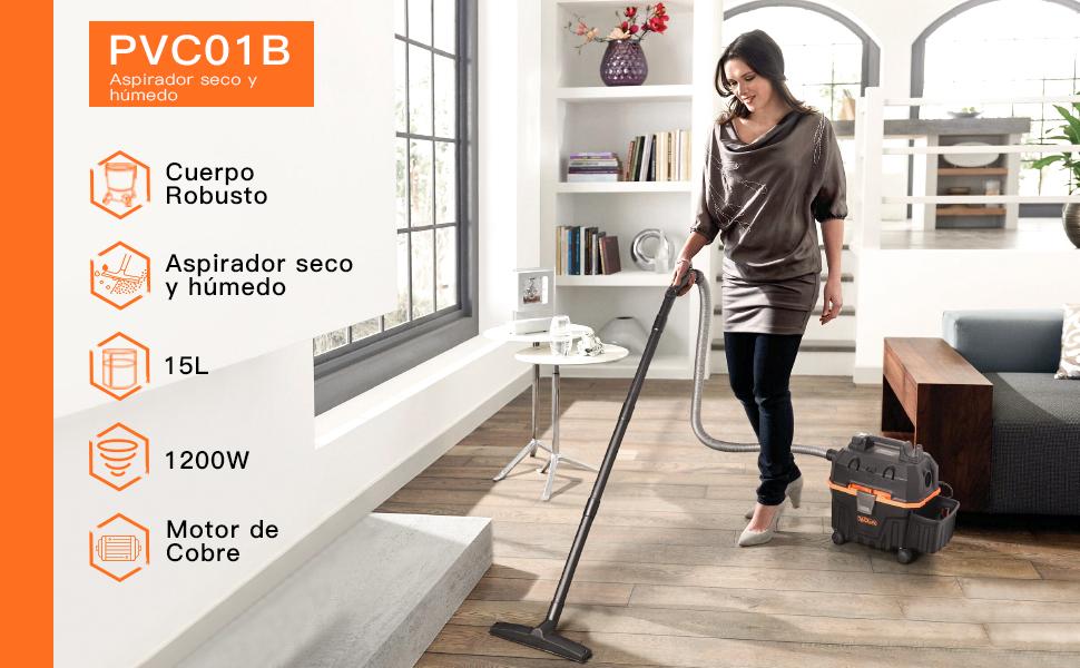 TACKLIFE Aspirador Seco Humedo, 15L Aspiradora Hogar, 1200W Húmedo ...
