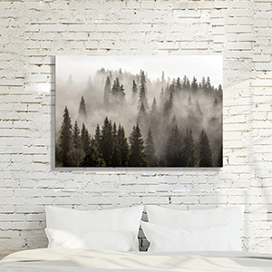 misty pine tree wall art