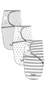 CuddleBug Adjustable velcro swaddle blankets for newborns