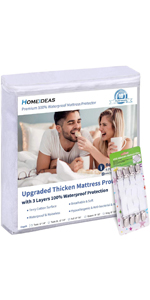HOMEIDEAS Premium 100% Waterproof Mattress Protector