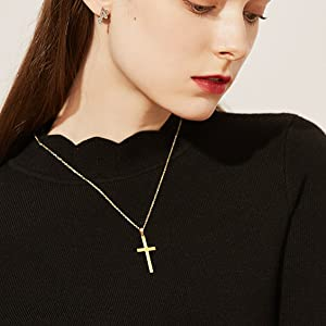 small gold cross necklace for women
