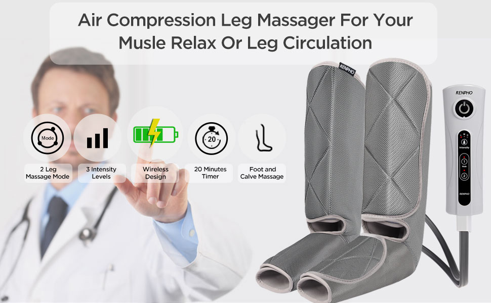 Air compression leg massager for musle relax and leg circulation