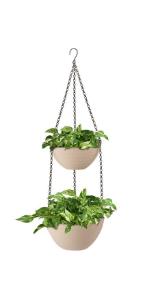2 tier hanging planter pot flowerpot indoor outdoor container hangable suspendible flowerpots