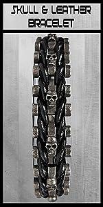 Leather amp; stainless steel skull bracelet