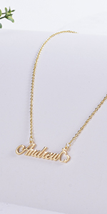 DHQH Custom Name Necklace Personalized 18K Gold Plated Nameplate Name Necklaces