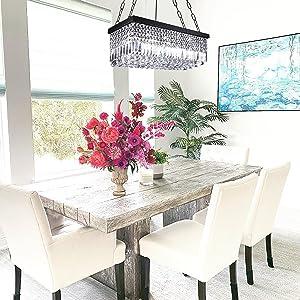 modern black crystal chandelier pendant light fixture