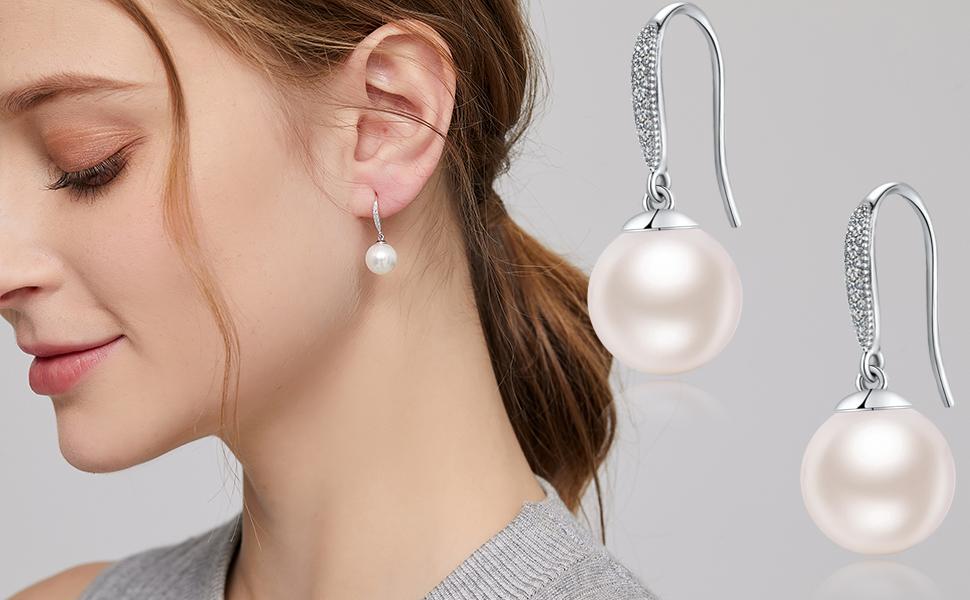 Large Glass Pearl Wedding Earrings wSilver Swirl Accents Handmade Original Colored Pearl Bridesmaid Earring Pearl /& Silver Accent Earrings