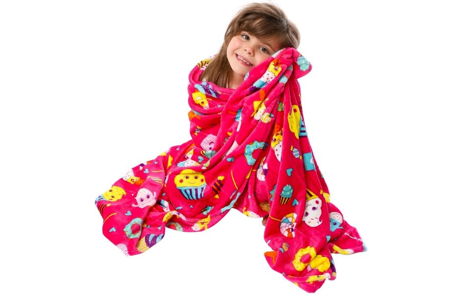 Regalos para Niñas | Manta de Polar Rosa para Niñas de GirlZone | Plaid Cobertor Kawaii de Microfibra Suave y Cálido 116 x 170 cm | Producto de ...