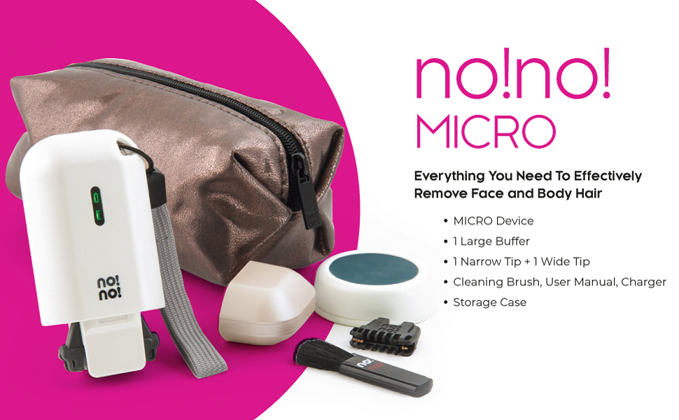 nono micro hair removal system with micro hair reduction device two thermicon tips body buffer case