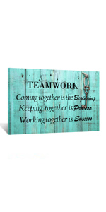 Rustic Teal Wall Art Office Quotes Artwork on Wood for walls Team Motivational Quote