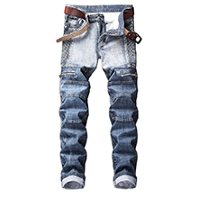 biker skinny jeans men slim fit moto ripped distressed stretchy design hip hop straight fashion grey
