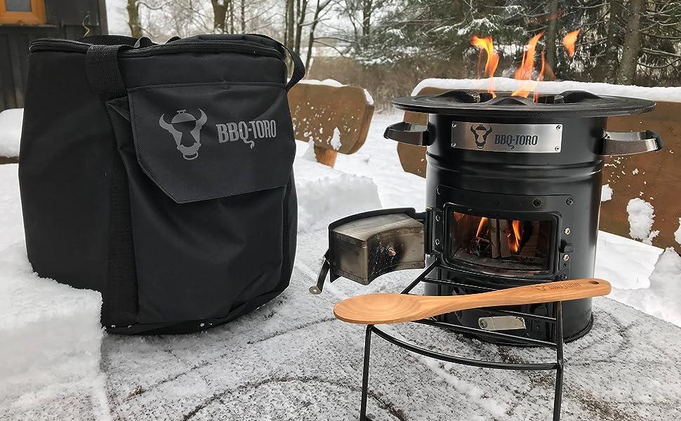 BBQ-Toro Raketenofen Rakete #1 Grillpfannen und vieles mehr Edelstahl Rocket Stove f/ür Dutch Oven