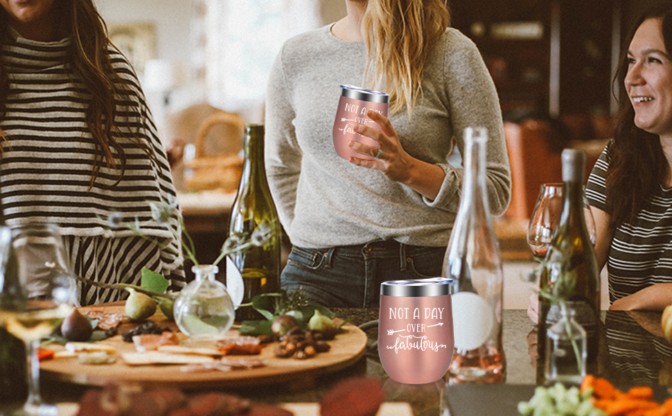 Not a Day Over Fabulous Fun Birthday Wine Gifts for Best Friend, Mom, Grandma, Wife, Aunt, Coworker