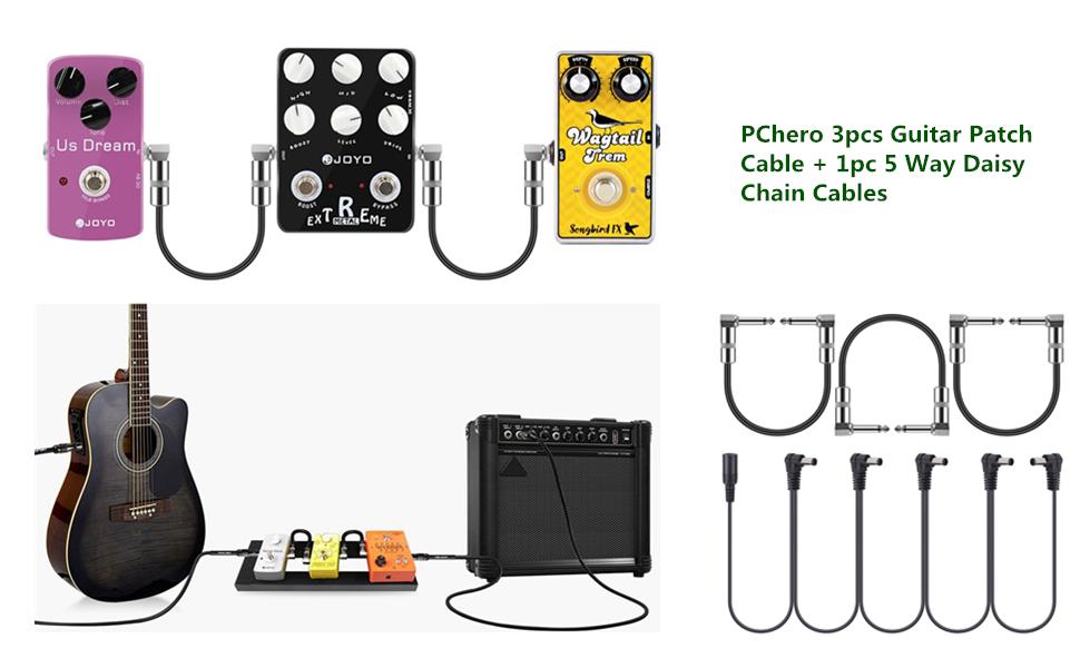 PChero 3 Pack Cables Pedales Guitarra Jack Guitarra + 1 Pack 9V 1A ...