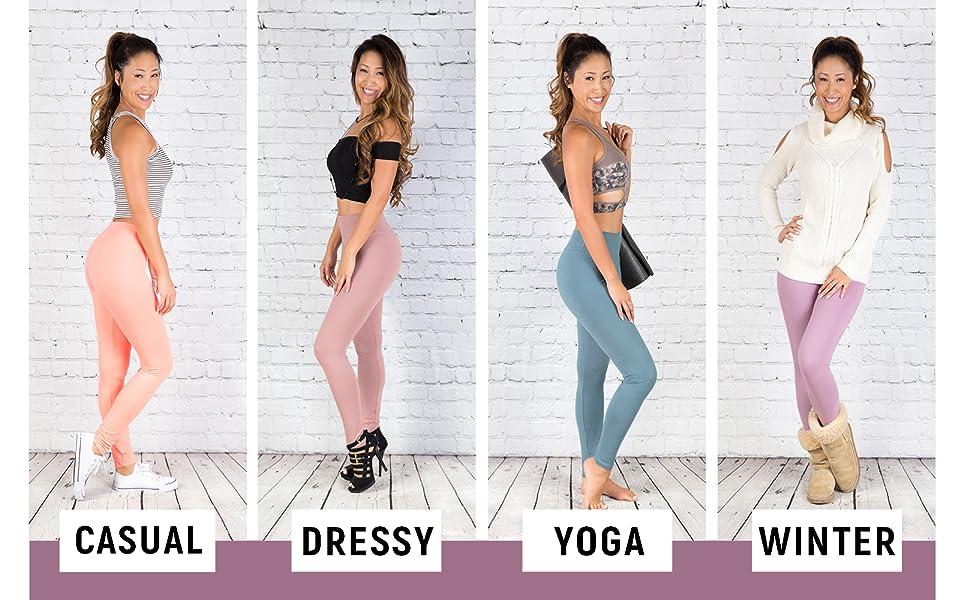 casual, dressy, yoga, winter
