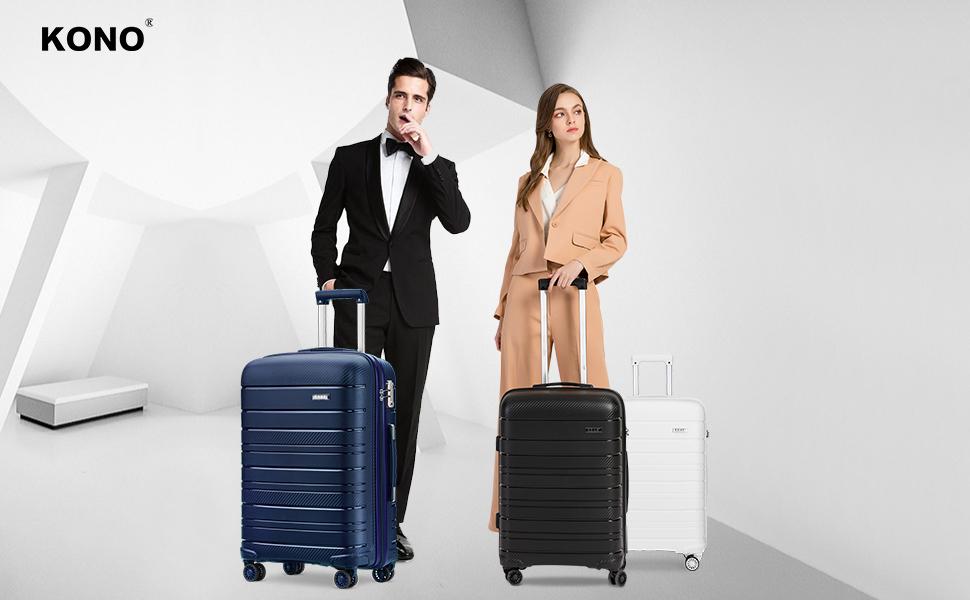 Kono Lightweight Polypropylene Luggage with 4 Spinner Wheels