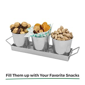 snack pots for party with tray caddy