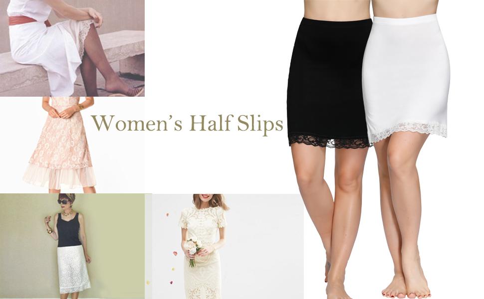 Zexxxy Womens Half Slip Lace Trimmed Underskirt Extender Underwear Slip