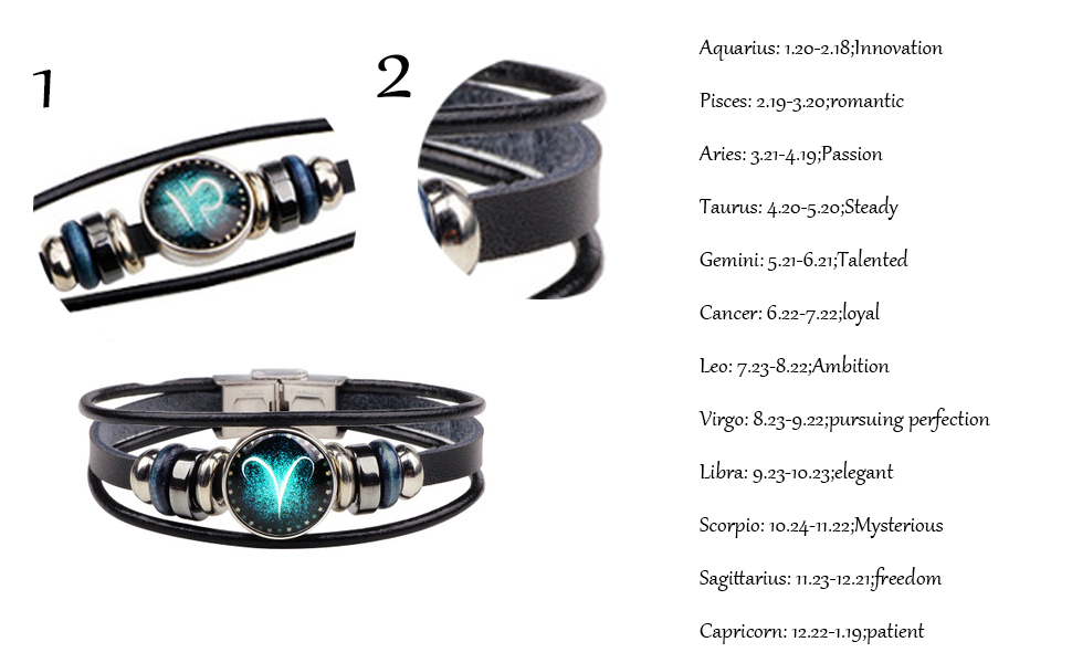 MUYUN Vintage 12 Constellations Multilayer Bracelets Astrology Star Lovers Weave Leather Bangles Fashion Handmade Jewelry