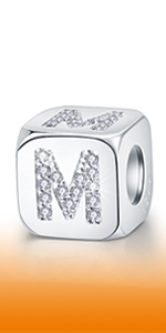 925 Sterling Silver Dice-Shaped Letter M Charm Initial A-Z Alphabet Beads