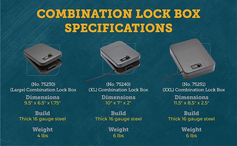 Combination lock box specifications