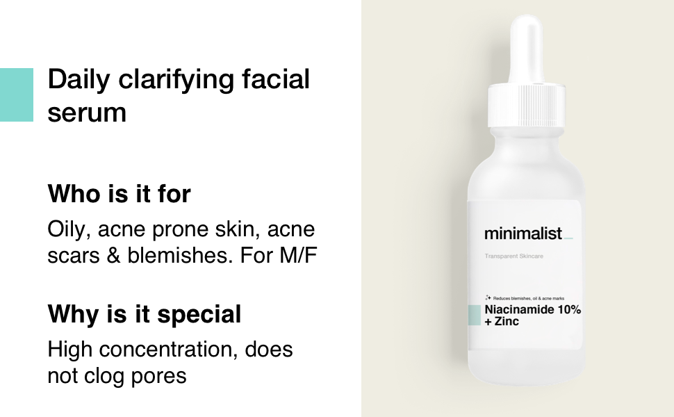 Minimalist Daily Clarifying Niacinamide 10% Zinc serum for acne pimple scars marks spots blemishes