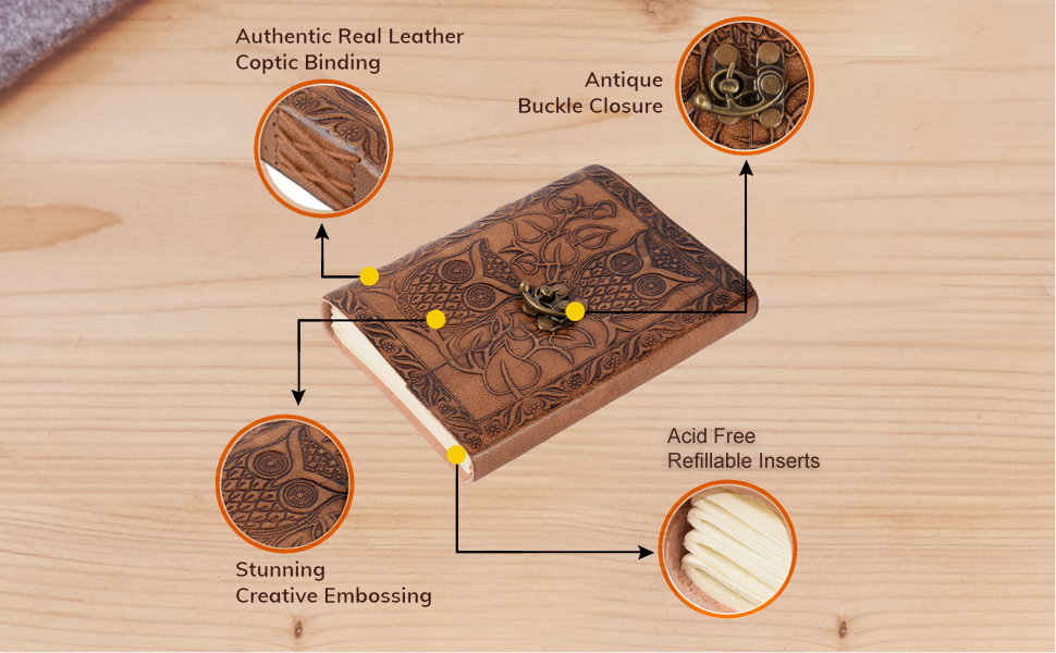 authentic real leather coptic binding creative design tree free acid free paper strap closure