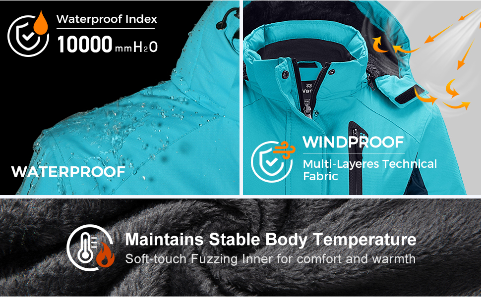 Women's Waterproof Parka Windproof Ski Jacket