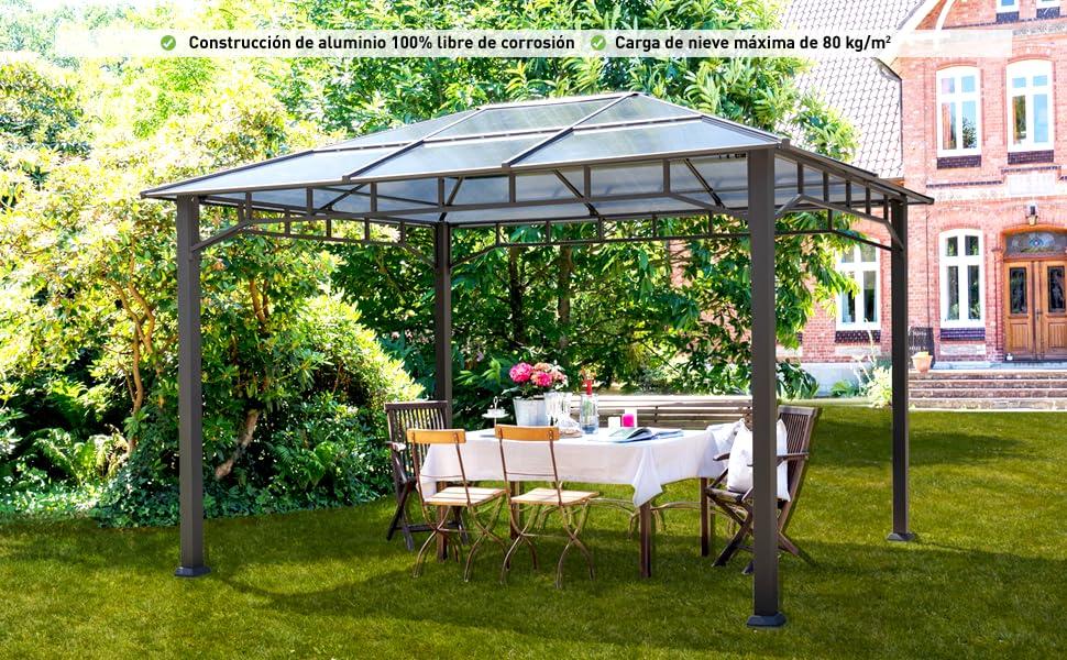 TOOLPORT Cenador de Jardín 3x4 m Marco de Aluminio 8mm ...