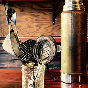 TheBarsentials Cocktail Strainer Set Bar Tool with Stirring Spoon Hawthorne Julep Sifter gift