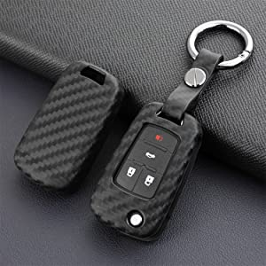 TANGSEN Smart Key Fob Case for Buick Encore Envision Lacrosse Regal Tourx 5 Button Keyless Entry Remote Personalized Protective Cover Plastic Carbon Fiber Pattern Red Silicone.