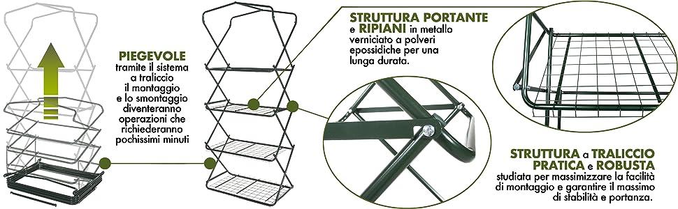 Verdelook, serra, pieghevole, 4 ripiani, struttura, traliccio, robusta, lunga durata, stabilità