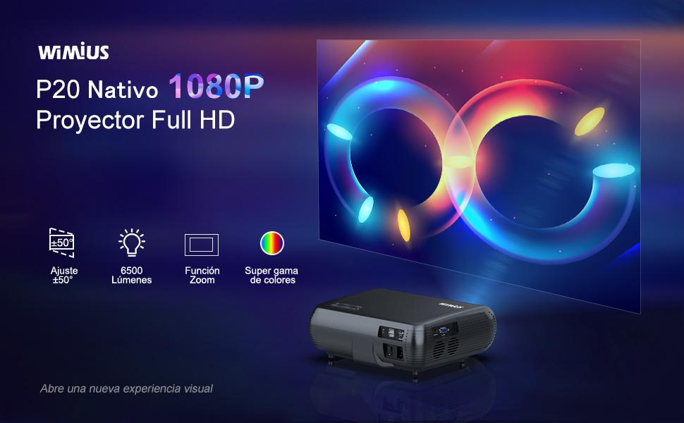 Proyector, WiMiUS 6500 Lúmenes Proyector Full HD 1920x1080P Nativo ...
