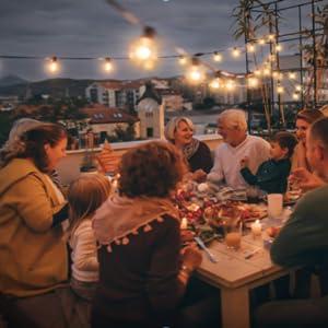 Guirnaldas luminosas de exterior,LECLSTAR G40 Cadena de Luces 10m con 30+3(Bombilla de Repuesto) Vintage Edison Incandescentes IP44 Impermeable Perefcto para Fiesta,Boda,Jardín Patio Cafe: Amazon.es: Bricolaje y herramientas