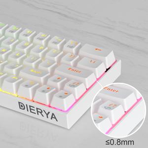 Dierya Teclado mecánico para Juegos 60% True RGB con retroiluminación Bluetooth 4.0 con Cable/inalámbrico LED Teclado de computadora para de ...