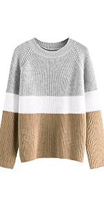 Milumia Women's Casual Long Sleeve Sweater Colorblock Striped Knitted Textured Jumper