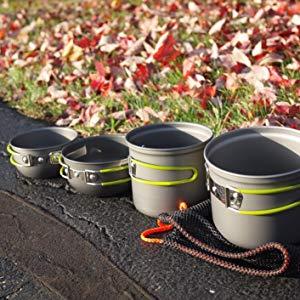G4Free Kit Casserole Camping 5-16 pi/èces Cuill/ère Po/êle 1-2 Personnes en Aluminum Antiadh/ésif avec Sac en Filet pour P/êche Randonn/ée Cuisine Camping