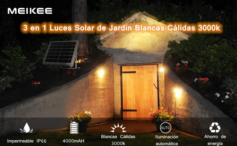 Luces Solares Jardín MEIKEE 3 en 1 LED Foco Solar Blanco Cálido 3000K 2 Nivels Brillo Ajustables Impermeable IP66 270º Gran Angular de Luz Iluminación Exterior para Camino Césped Entrada: Amazon.es: Bricolaje