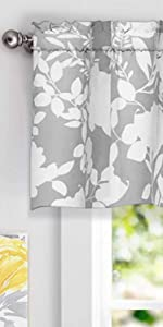 Floral delight window valance 52 18 inch gray