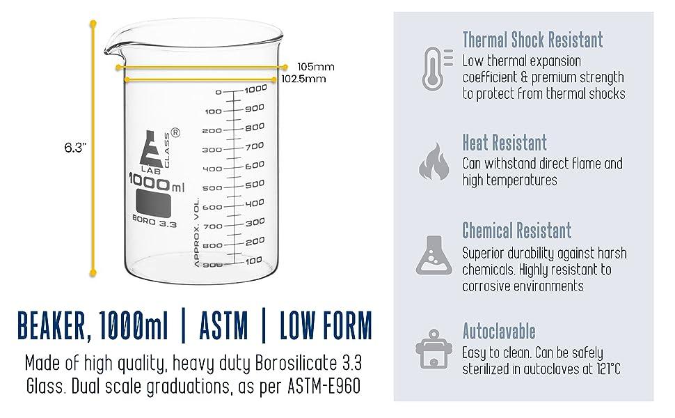 beaker astm low form tolerance heat chemical resistant autoclavable thermal shock griffin graduated