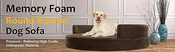 KOPEKS Sofa Redondo Cama Marrón para Perro Perros Mascotas Extra ...