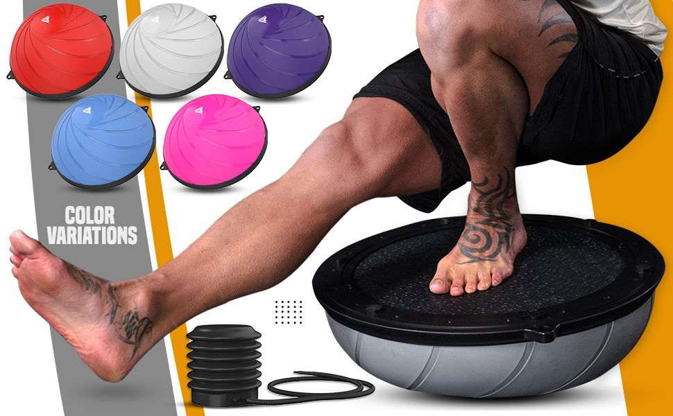 RDX Balance Trainer with Resistance Bands, Anti-Skid Inflatable PVC Air Dome