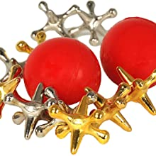 jacks and red bouncy balls