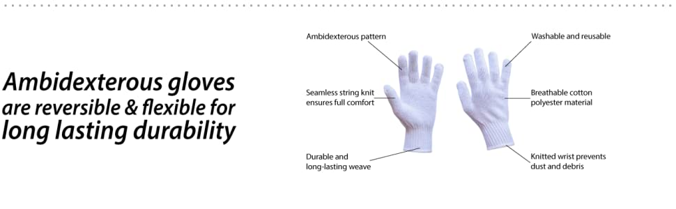 Image of cotton knit white gloves made by Bison Life with a detailed diagram of features.