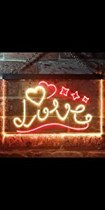 ADVPRO LED Neon sign light-ing Dual-color Love Lovers Valentines heart sweet star