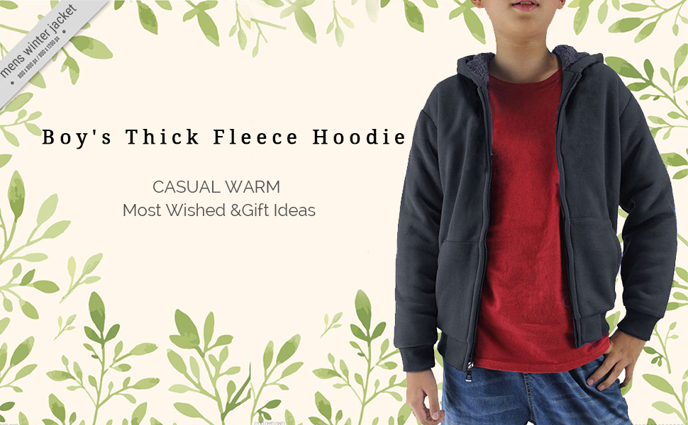 Boys Fleece Hoodie Full Zip Hooded Sweatshirt with Thick Sherpa Lined