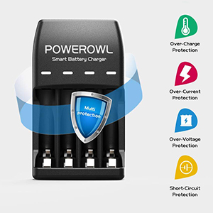 POWEROWL Pilas Recargables Cargador para Ni-MH Ni-CD AA y AAA, Cargador de Pilas con Puerto USB Indicador LED (Cargador de 4 Ranuras, Sin Pilas)