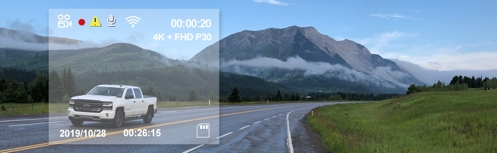 4K Ultra HD Video Recording 3840*2160P 30fps for road front  The real Ultra HD 4K front resolution